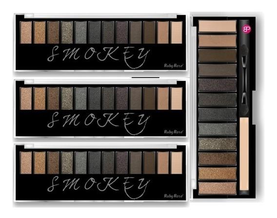 8 Paleta Sombra Smokey Ruby Rose 12 Cores Kit C/ 8 Paletas