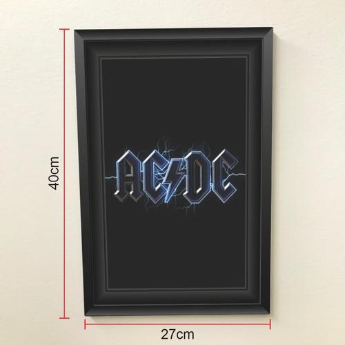 Quadro 40x27 Rock N Roll Ac/dc Logomarca
