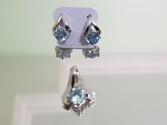 Conjunto De Topázio Azul Em Prata 925