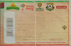 Ingresso Campeonato Gaucho 2012 Cruzeiro X Gremio Em Nh