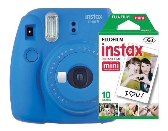 Câmera Instantânea Instax Fujifilm Mini 9 Azul + 10 Filmes
