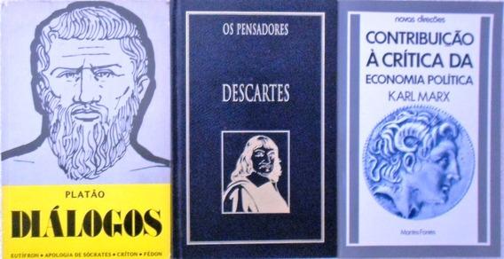 Box 3 Livros Karl Marx / Platão Diálogos / Descartes