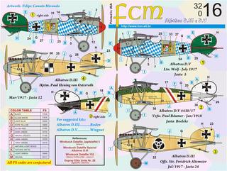 Decalque Fcm 32016 Albatros D.iii E D.v Decal 1/32