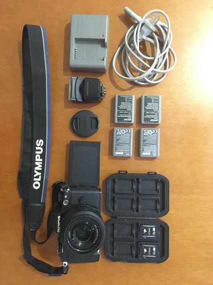 Câmera Olympus Omd Em-5 Ii M2 + Lente Panasonic + Acessórios