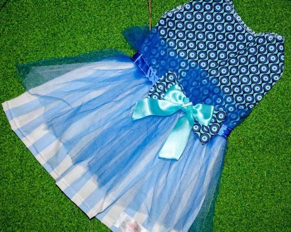 Vestido Olho Grego + Listrado Azul Claro E Branco (p)