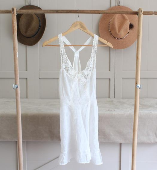 Vestido Corto De Bambula Entallado Verano