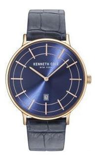 Reloj Kenneth Cole Kc15057015 Malla Cuero Negra