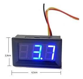 Kit 5pçs Voltímetro Digital Remote 0~30v Bateria Carro Azul