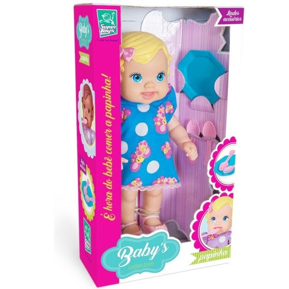 Boneca Loira Baby Papinha Com Acessórios - Super Toys