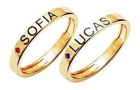 Anéis Com Nomes Personalizados Com Ponto Cristal