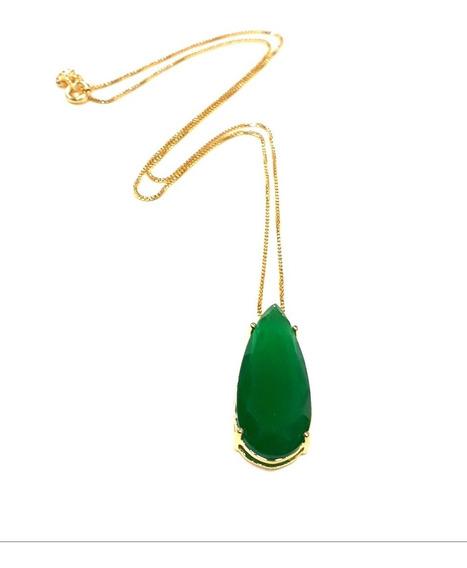 Colar Veneziana Pingente Gota Pedra Verde Folheado Ouro 18k