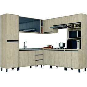 Cozinha Completa Móveis Sul 12 Portas 3 Gavetas 8 Peças Mdp