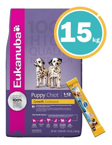 Eukanuba Cachorro Razas Medias 15kg  + Dentalstix + Envío