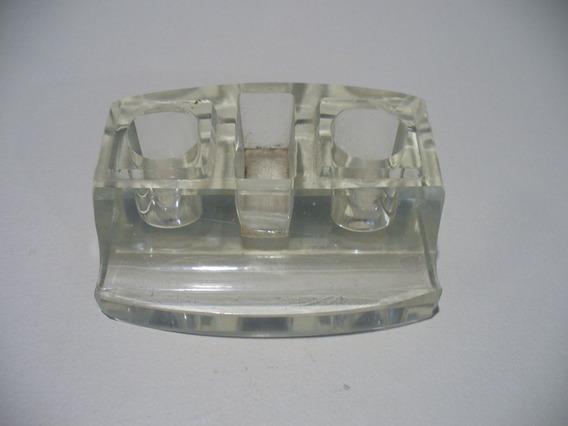 Antiguo Tintero De Cristal Con Soporte Para Lapicera