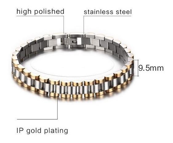 Pulsera Esclava Diseño Rolexx Oro Laminado Acero
