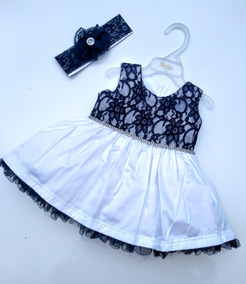 Vestido Bebê Festa Branca/azul Renda Da Paraíso