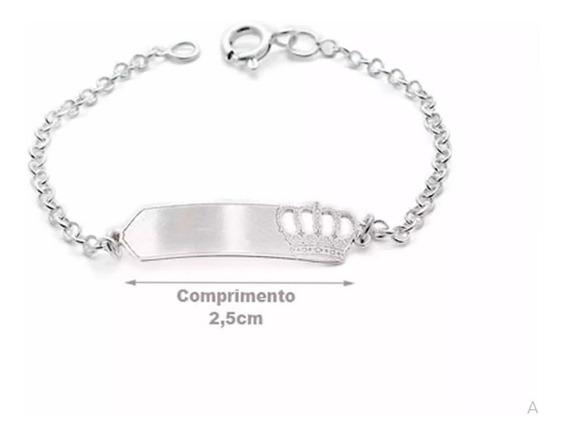 Pulseira Infantil Prata 925 Gravação De Nome Grátis 14cm