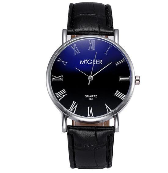 Relógio Masculino Azul Quartzo Pulseira Em Couro De Luxo