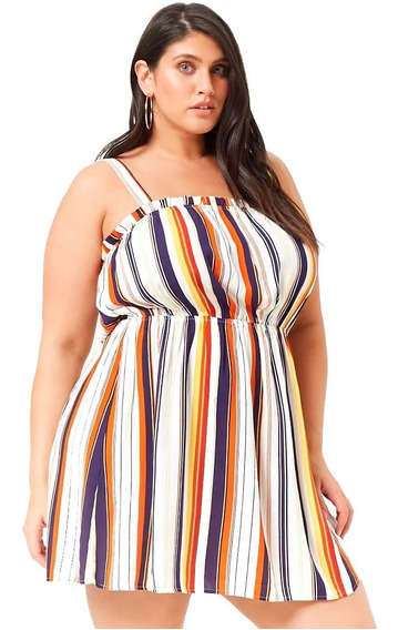 Vestido Forever 21 Rayas Plus Size Talle Especial 2x 3x