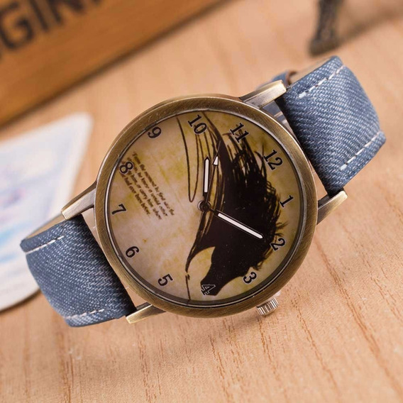Relógio De Pulso Jeans Cowboy Criança Adolescente 163