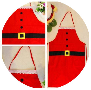 Delantal Navidad, Mandil Navideño, Santa Claus, Rojo Adulto