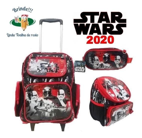 Kit Mochila Star Wars Infantil Escola Masculina De Rodinhas