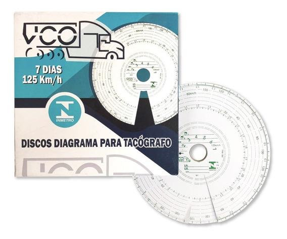 Disco Tacógrafo Caixa 10 Unid Semanal 125 Km Vco Similar Vdo