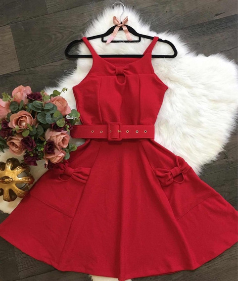 Vestidos Femininos Rodado Princesa Festa Curtos Bolso Laço