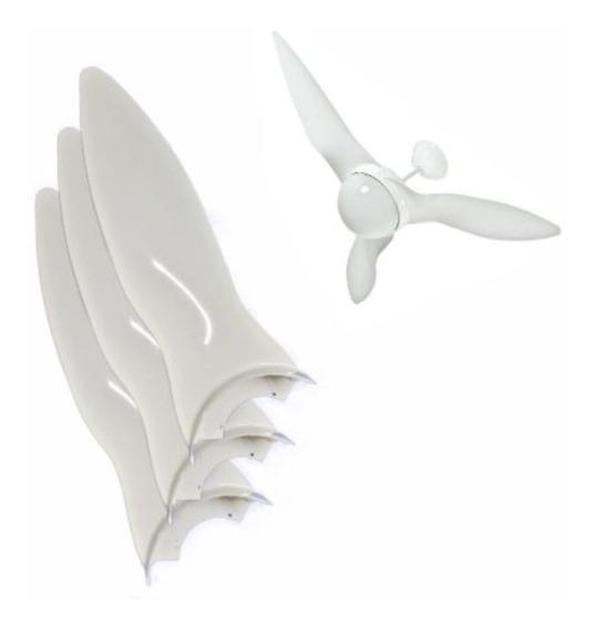 Jogo Hélices 3 Pás Ventilador De Teto Aliseu Terral Branco