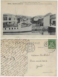 Sc 1912 Cartão Postal Foto Atracadouro De Barcos Joinville