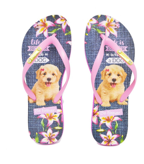 Chinelo Feminino Rafitthy Be Forever Poodle Life Is Better