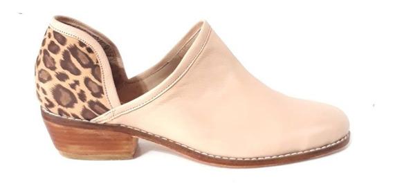 Huma10 Zapato Texano Talles Grandes Cuero Mujer Nude Ap