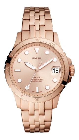 Reloj De Pulso Dama Fb - 01 Fossil Es4748 Color Oro Rosado