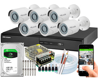 Kit 6 Câmeras Cftv Hikvision Full Hd 1080p 2mp Dvr 8 Canais