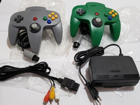 Kit 2 Controles N64 + Cabo Av + Fonte N64 Bivolt