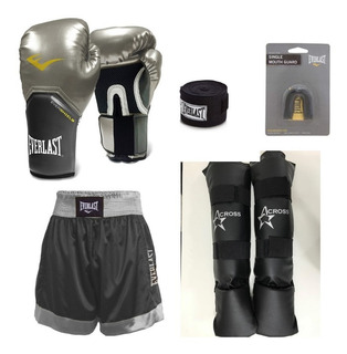 Kit Luva Muay Thai Pro Everlast Prata+caneleira+acessorios