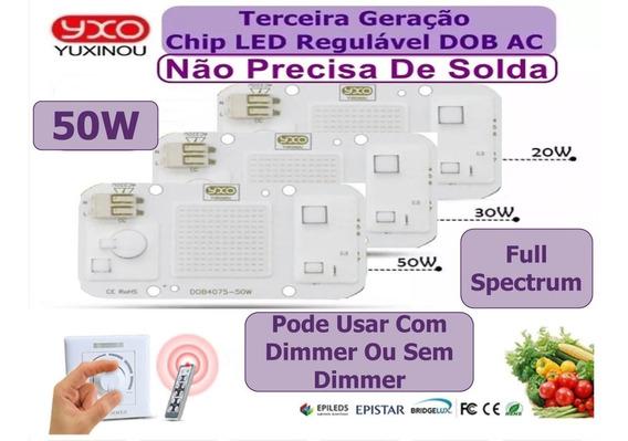 Kit 3 Chip Led 50w Azul Royal Full Spectrum 220v Aquário Pla