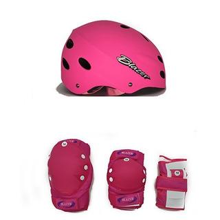 Combo Rosa Protecciones Uso Rudo Profesional + Casco Ajustable+ Regalo Patinaje Ciclismo