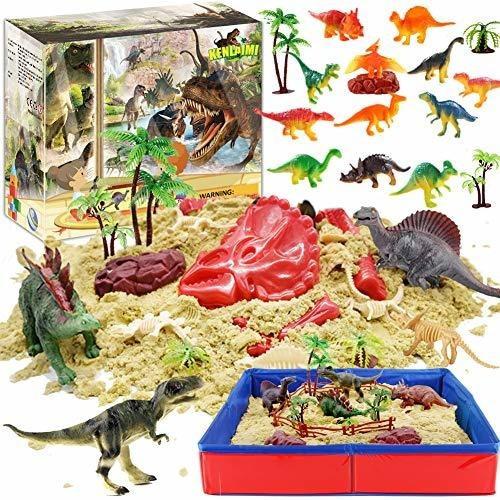 Areneros Kenlaimi Dinosaur Play Kit De Arena, 3 Libras De Ar