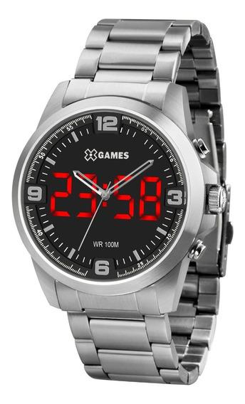 Relógio X-games Masculino Led Xmssa009 P2sx Digital Prata