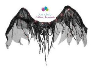 Alas De Angel Negro Halloween Luz Led Premium Juanalalo