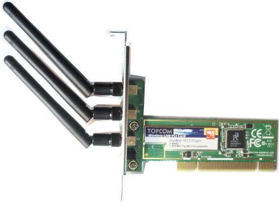 Placa Pci Wifi 3 Antenas Rompemuros 100mbps Topcom E7061