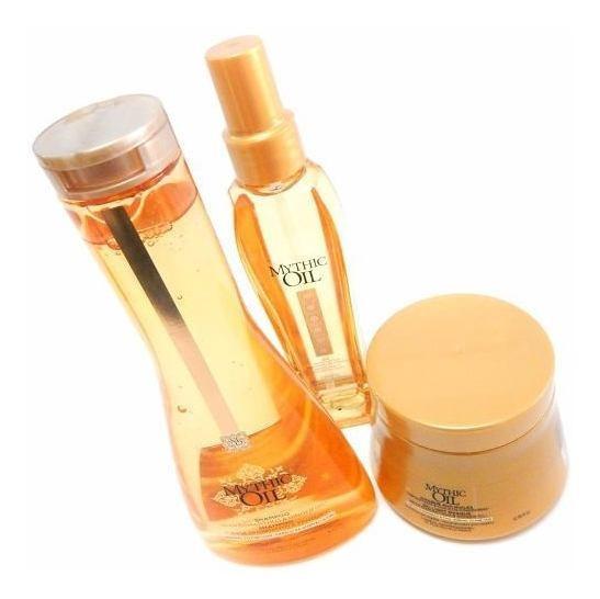 Kit Loreal Mythic Oil Shampoo + Mascara + Aceite P/pelo Fino