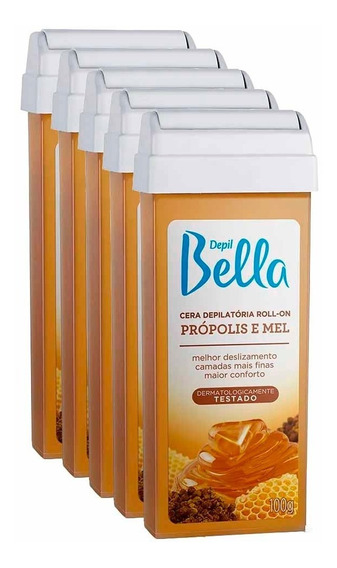 Kit 5 Refil Cera Depilatória Roll-on Mel 100g Depil Bella