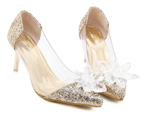 Sapatos Feminino Salto Alto Festa De Casamento Luxo 15 Anos