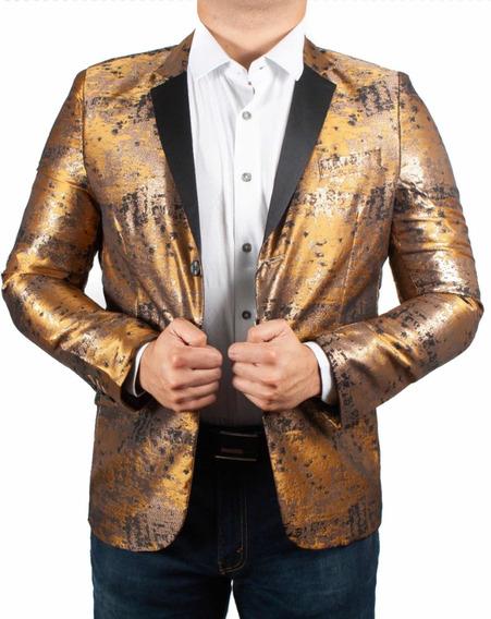 Saco Hombre Marca Moderno Mjb 2035 Dorado/bronze/azul ( 1 )