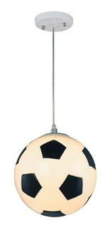 Lampara Colgante Infantil Pelota Futbol E27 Vidrio 25 Cm