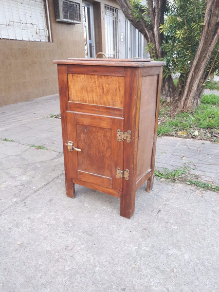 Heladera A Hielo Antigua De Madera Vintage