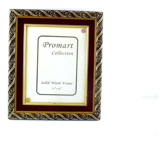 Porta Retrato Grande De Mesa Moldura Dourada E Vinho B6107