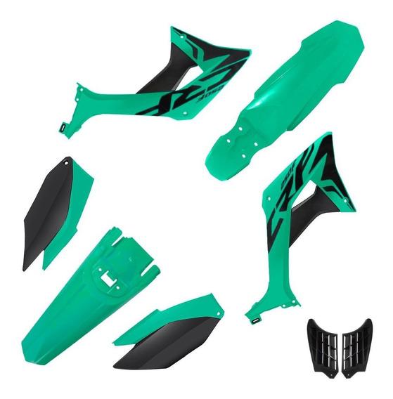 Kit Carenagem Biker Evo Honda Crf 250f Com Adesivos Verde Pine Green / Preto
